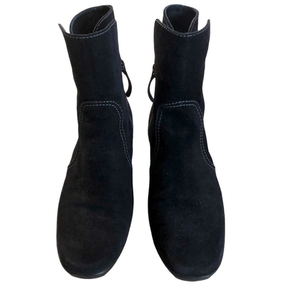 Tod's BLACK Suede Zip Up Ankle Mid Calf Boots 37.5